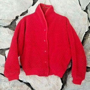 Womens Sz S VTG Deep Pile Red Fleece Jacket